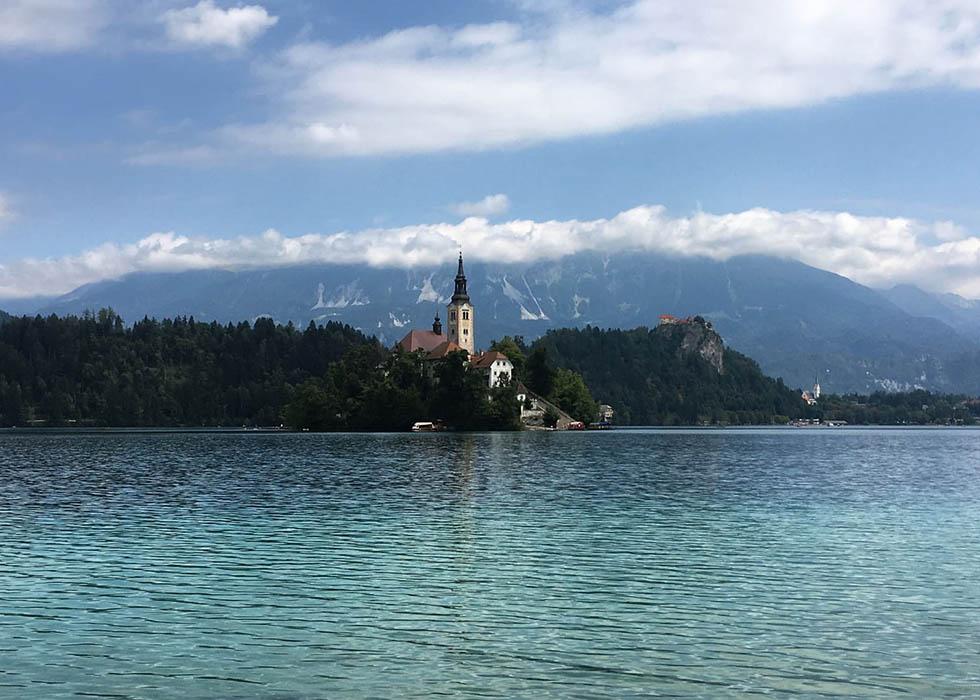 lago di Bled in moto, in Slovenia